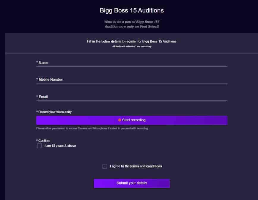 Bigg Boss 15 Auditions Link on Voot